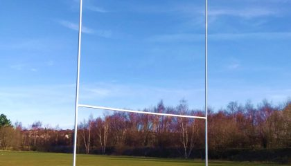 Youth Rugby Post 5.6m x 4.6m – Lightweight Aluminium Socketed – single sections